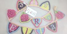 Handmade crochet mini name bunting