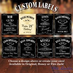 Custom Jack Daniels bottle labels make a great gift for any occasion! Choose from one of the designs shown or create your own. Available in…