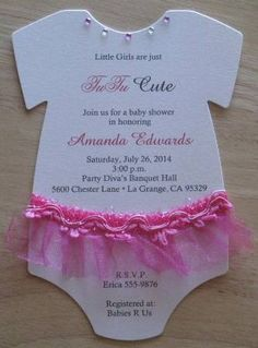 And the other choice of onesie baby shower invitation is like this one. Pink for the girl. Combine the invitation cards like this one.