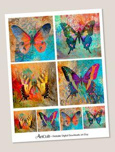 Printable Digital Collage Sheet ENCHANTED BUTTERFLIES by ArtCult
