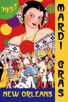 vintage mardi gras posters   ... Mardi Gras New Orleans Carnival Tourism Travel Vintage Poster Repro