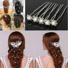 Hot 20 PCS Lovely Wedding Bridal Hairpin Crystal Rhinestone Pearl Flower Hair…