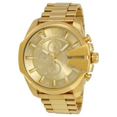 DIESEL Mega Chief Champange Gold-tone Men's Chronograph Watch