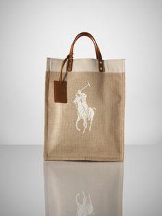 6ec63955cf06 Canvas  amp  Linen Big Pony Tote - Ralph Lauren Ralph Lauren Handbags -  RalphLauren.