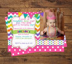 Shop for on Etsy, the place to express your creativity through the buying and selling of handmade and vintage goods. Custom Birthday Invitations, Colorful Birthday, Minnie Birthday, All Design, Laughter, Bright, Unique Jewelry, Handmade Gifts, Fun