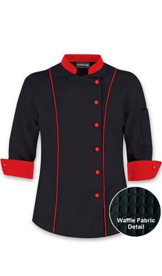 Women's Sleeve Traditional Chef or as I like to call it, Ricardo's new outfit. Chef Costume, Restaurant Uniforms, Staff Uniforms, Coats For Women, Clothes For Women, Uniform Design, Chef Coats, African Fashion, Work Wear
