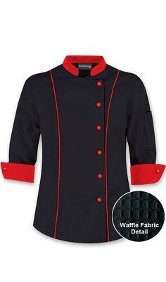 Women's 3/4 Sleeve Traditional Chef Coat - Contrast Trim $27.99…