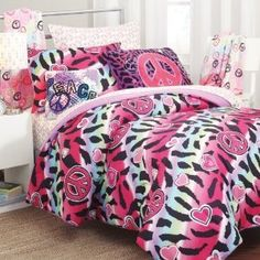 zebra print hello kitty peace sign bedroom | .com: 5pc Girl Pink Yellow Purple Black Heart Love Peace Sign Zebra ...