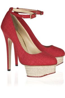 Charlotte Olympia Dolores textured cotton platform pumps | NET-A-PORTER