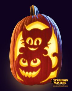 """Kitten's Pet"" pattern from the Pumpkin Masters Pumpkin Carving Kit."