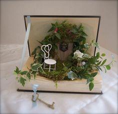 deko bücher pflanzenbehälter mini garten kreativ basteln