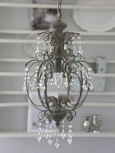 Chic Antique Deckenlampe Lster Shabby Metall Grau Romantik Landhausstil