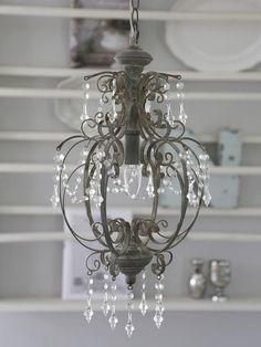 Chic Antique,Deckenlampe,Lüster,Shabby chic,Metall,grau,Romantik,Landhausstil