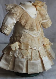 French Couturier Antique Doll Dress Fits 20BEBE Silk Satin Velvet Lace | eBay
