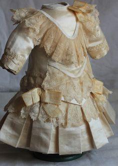 French Couturier Antique Doll Dress Fits 20BEBE Silk Satin Velvet Lace | eBay