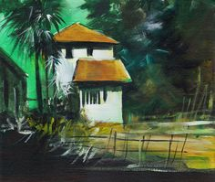 Acrylic on Canvas. This is partially realistic and partially dreamy scene. House is rendered white so that it stands out in dark greenery around. Contrast is the main element in composition.
