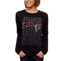 Atlanta Falcons Womens Team Repeat Long Sleeve T-Shirt - Black  #fanatics