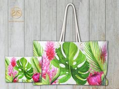 Items similar to Tropical Floral Weekender Bag on Etsy Destination Wedding Save The Dates, Destination Wedding Inspiration, Destination Wedding Invitations, Bridal Shower Invitations, Custom Invitations, Wedding Stationery, Vintage Save The Dates, Champagne Party, Wedding Weekend