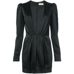 Saint Laurent Black Deep V Neck Mini Dress (11219610 PYG) ❤ liked on Polyvore featuring dresses, black, frill dress, frilly dresses, long sleeve short dress, long sleeve mini dress and ruffle mini dress