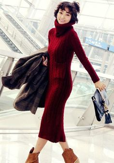 Red Plain Pockets Long Sleeve Fall Knit Maxi Dress
