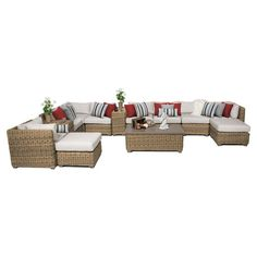TK Classics Cape Cod Wicker 13 Piece Patio Conversation Set with 2 Sets of Cushion Covers Beige / Wheat