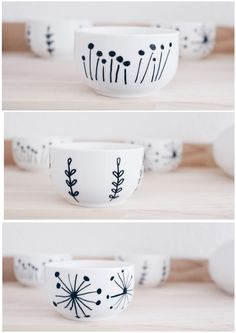 Porzellan bemalen - Boho and Nordic Pottery Painting, Ceramic Painting, Diy Painting, Porcelain Painting Ideas, Rock Painting, China Painting, Painted Plant Pots, Painted Flower Pots, Painted Mugs