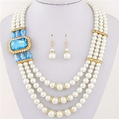 Square Gem Decorated Elegant Triple Layers Pearl Fashion Necklace and Earrings Set - Sky Blue