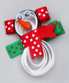 Take a look at this Red & White Snowman Clip by Bubbly Bows on #zulily today!