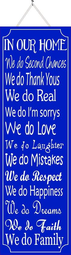 In Our Home House Rules Sign in Blue #strengthquotes