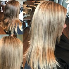 Before and after From grown out colour and style To shiny blonde hi lights containing tones of pearl, violet and ash