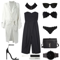 Culotte Jumpsuit by fashionlandscape on Polyvore featuring polyvore fashion style Yohji Yamamoto TIBI Marysia Swim Yves Saint Laurent Larsson & Jennings Quay NARS Cosmetics