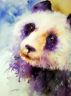 """Daily Paintworks - """"Pansy the Panda"""" - Original Fine Art for Sale - © Arti Chauhan"""