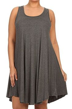 48a3293fb10 Modern Kiwi Solid Basic Asymmetric Plus Size Tank Tunic Dress at Amazon  Women s Clothing store