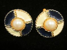 Blue and Cream Enameled Pin matching earrings by AlleyCatzVintage, $15.00