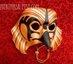 Gold Horus Mask... Egyptian falcon leather masquerade by Merimask, $200.00
