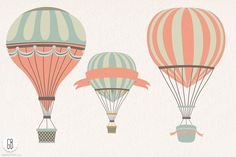 Hot air balloon flowers clip art by GrafikBoutique on @creativemarket