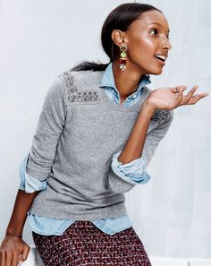 OCT '13 Style Guide: J.Crew Jeweled-shoulder sweater.