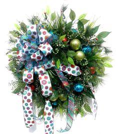 Evergreen Wreath Christmas Front Door Wreaths by ArtificialWreaths