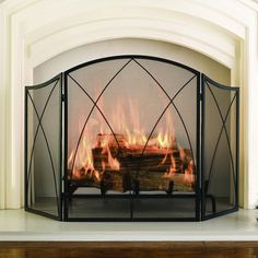 Pleasant Hearth Black Powder Coat Arched 3 Panel Fireplace Screen Screens Fireplace Acces