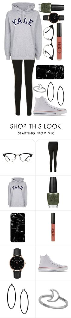 """""""Untitled #528"""" by leahgomezanderson ❤ liked on Polyvore featuring Ray-Ban, Topshop, OPI, Converse and Midsummer Star"""