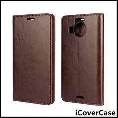 Luxury Crazy Horse Stand Flip Wallet Genuine Leather Case for Nokia Microsoft Lumia 950 XL