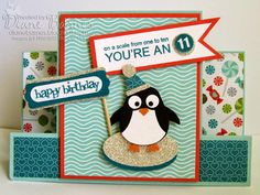 Stampin Up Party penguin birthday centre step card with owl punch penguin. By Di Barnes #colourmehappy