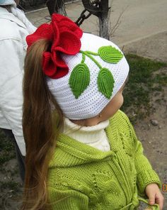 White Ponytail Hat with Flower free crochet graph pattern. It just hit me: Why crochet an entire hat, when I could start with a ready-made and re-style it? Bonnet Crochet, Crochet Baby Hats, Crochet Beanie, Knit Or Crochet, Crochet For Kids, Crochet Crafts, Crochet Clothes, Crochet Projects, Knitted Hats