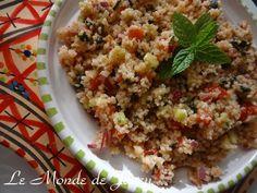 Taboulé tunisien. Zutaten: 250 g Instant-Couscous 1-2 Zitronen 8 Tomaten 1 Zwiebel 1 Gurke frische…