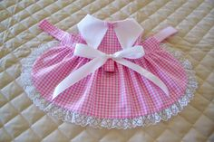 Handmade XS-S Pink and White Gingham Dog by PreciousPupSupplies