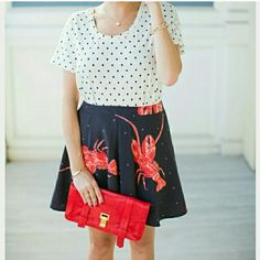 "2X-HP VENA CAVA Lobster skirt NWT *more sizes* Go down by the Bay in this Lobster skirt! So fun & playful, this skirt features lobsters on a black background with gray polka-dots. Dress this versatile skirt up with a polka-dot top & heels or make it causal with a t-shirt, demin jacket & statement sneakers. This will surely be one of your favorite skirts!  Brand new w/tag 100%polyester Length approx 16"" Designer Viva Vena By Vena Cava   *More sizes available 2,4,6, No trades Price is firm…"