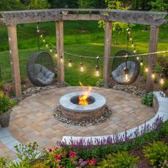 Fire Pit Area, Fire Pit Backyard, Fire Pit Pergola, Fire Pit Swings, Wood Fire Pit, Garden Fire Pit, Backyard Patio Designs, Backyard Projects, Fire Pit Landscaping