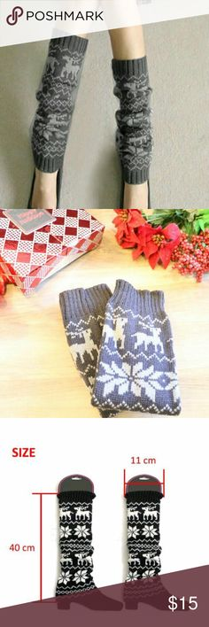 Reindeer Print Leg Warmers These super cute leg warmers with reindeer and snowflake print are perfect to keep cozy for the holidays and make fantastic Christmas gifts, stocking stuffers or white elephant gift! Material: 85% Acrylic 10% polythene 5% elastic Accessories Hosiery & Socks