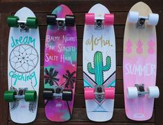 Image about skateboard in Summer by Milka on We Heart It Picture found by Gabriela Diaz.) Your own images and videos in We Heart It Penny Skateboard, Painted Skateboard, Skateboard Deck Art, Skateboard Design, Skateboard Girl, Surfboard Art, Art Michael Jordan, Longboard Design, Skate Girl