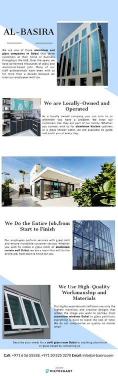 From Aluminium Curtain Wall to swift glass room Dubai, Al Basira is a company that offers a wide range of services. Know more about our company in this Infographics! Dubai, Shower Cabin, Glass Room, Aluminium Windows, Folding Doors, Glass Shower, Swift, Infographics, This Is Us
